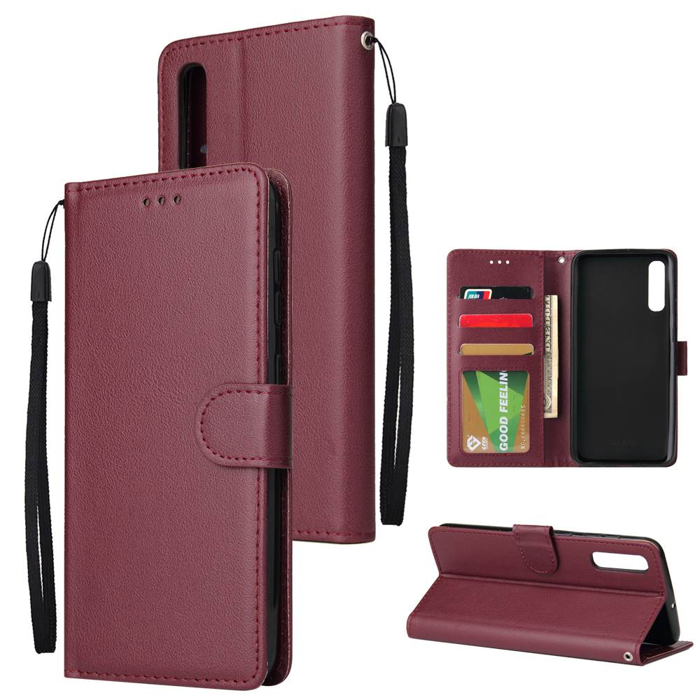 For Samsung A50 Wallet-type PU Leather Protective Phone Case with Buckle & 3 Card Position Red wine