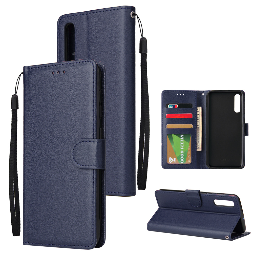 For Samsung A50 Wallet-type PU Leather Protective Phone Case with Buckle & 3 Card Position blue