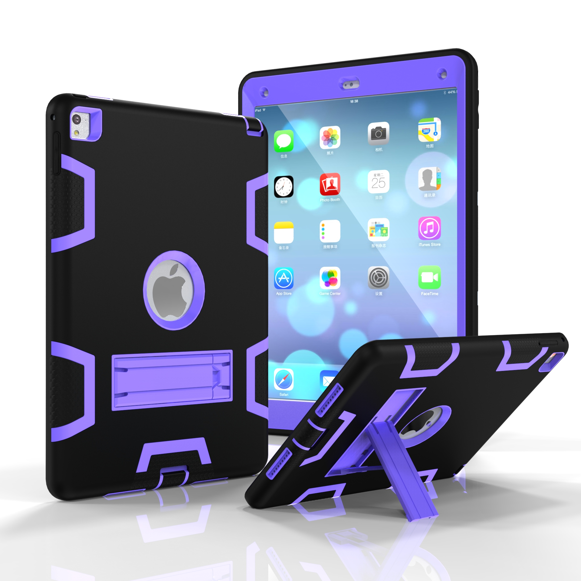 For iPad air2/iPad 6/iPad pro 9.7 2016 PC+ Silicone Hit Color Armor Case Tri-proof Shockproof Dustproof Anti-fall Protective Cover  Black + purple