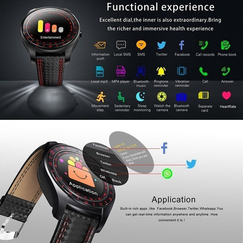V10 Waterproof Sport Smart Watch - Blood Pressure Heart Rate Monitor for iOS Android, Red
