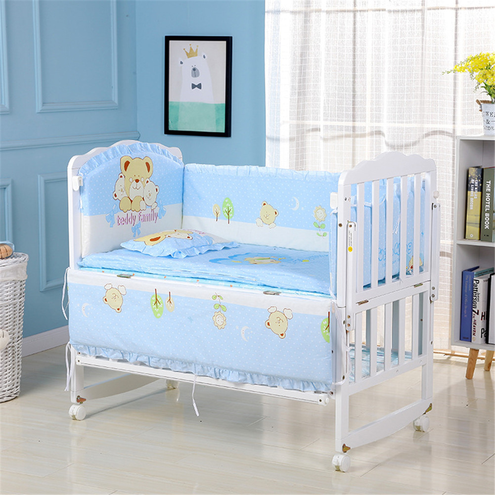 5Pcs Cartoon Animated Crib Bed Bumper 100%Cotton Comfortable Children's Bed Protector Baby Washable Set three little Bears_90*50