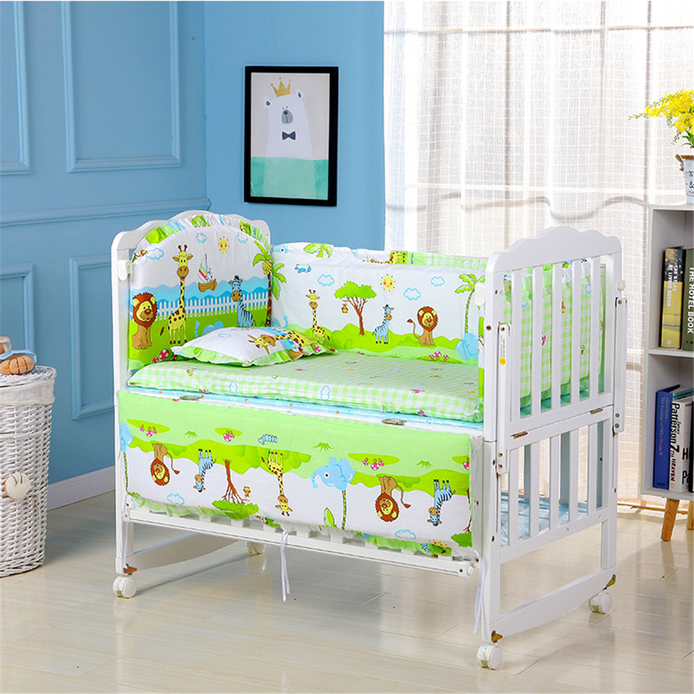 5Pcs Cartoon Animated Crib Bed Bumper 100%Cotton Comfortable Children's Bed Protector Baby Washable Set Forest kingdom_90*50