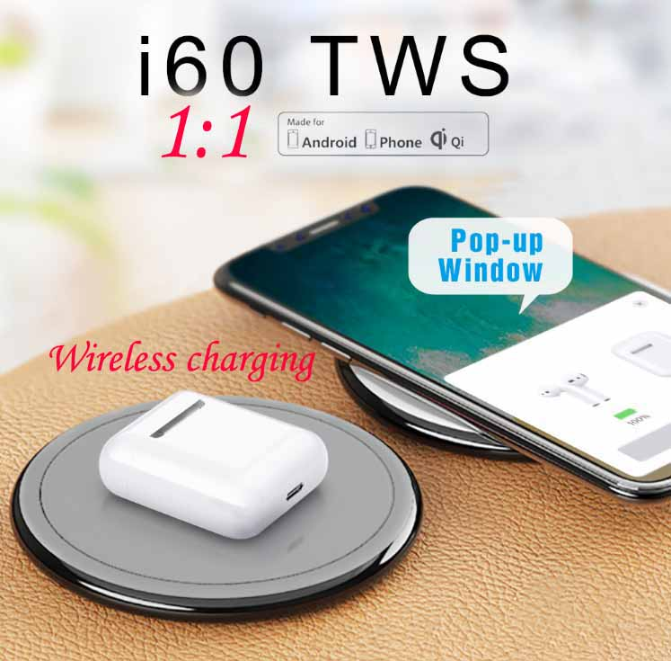 i60 TWS 1:1 Wireless Earphone QI Wireless Charging Bluetooth 5.0 Earphones Bass Earbuds