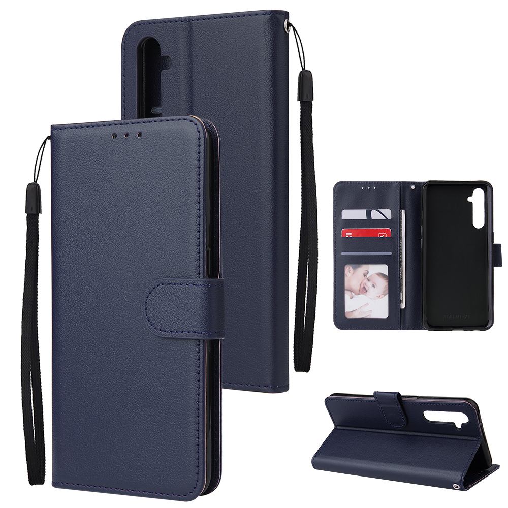 For OPPO A8 / A31/Realme XT / X2 Mobile Phone Case PU Buckle Closure Wallet Design Cards Slots All-round Protection Phone Cover  blue