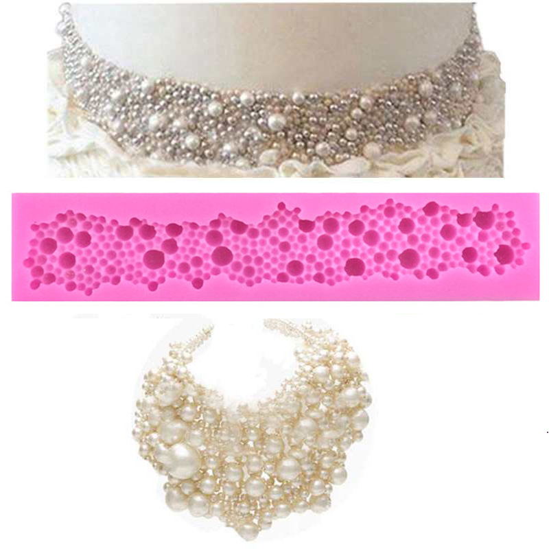 Strip Fondant Cake Mould Silicone Pearls Necklace Mold Decor Cake Chocolate Baking Molds pink