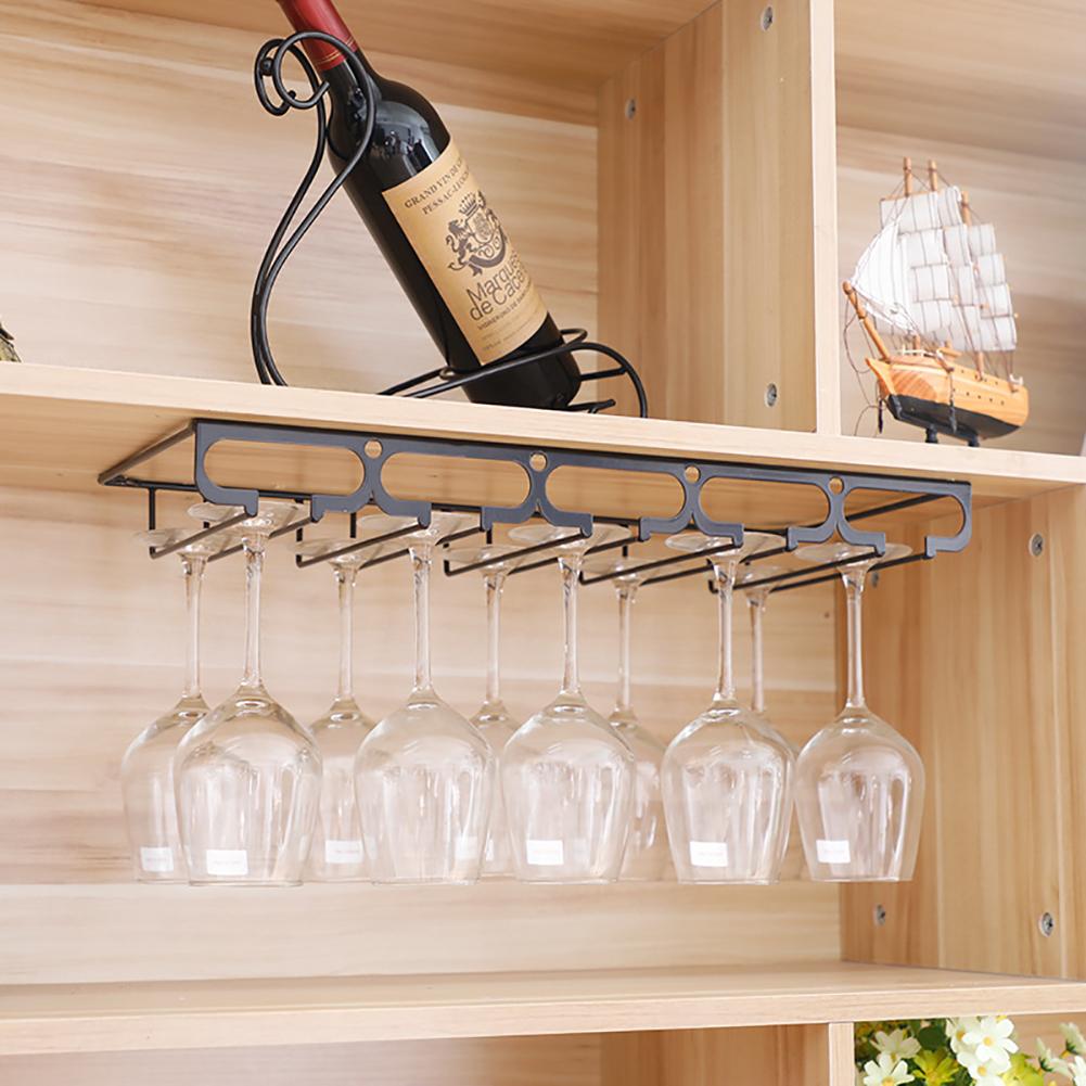 Wine Cup Holder Goblet Upside Down Wall Mounted Rack Glass Organization Shelf Stemware Storage 5 slots