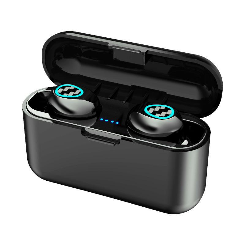 Wireless Bluetooth Earphones TWS Sport Stereo In-ear Bass Portable Earphones black_R7