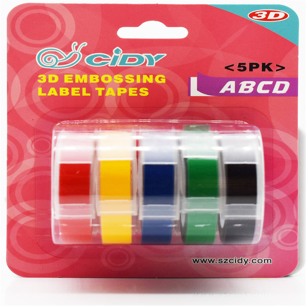 5Pcs/Set Adhesive  Tape  Set 3d Plastic 9mm Embossing Label Maker Waterproof Strong Adhensiveness 9mm (a combination)