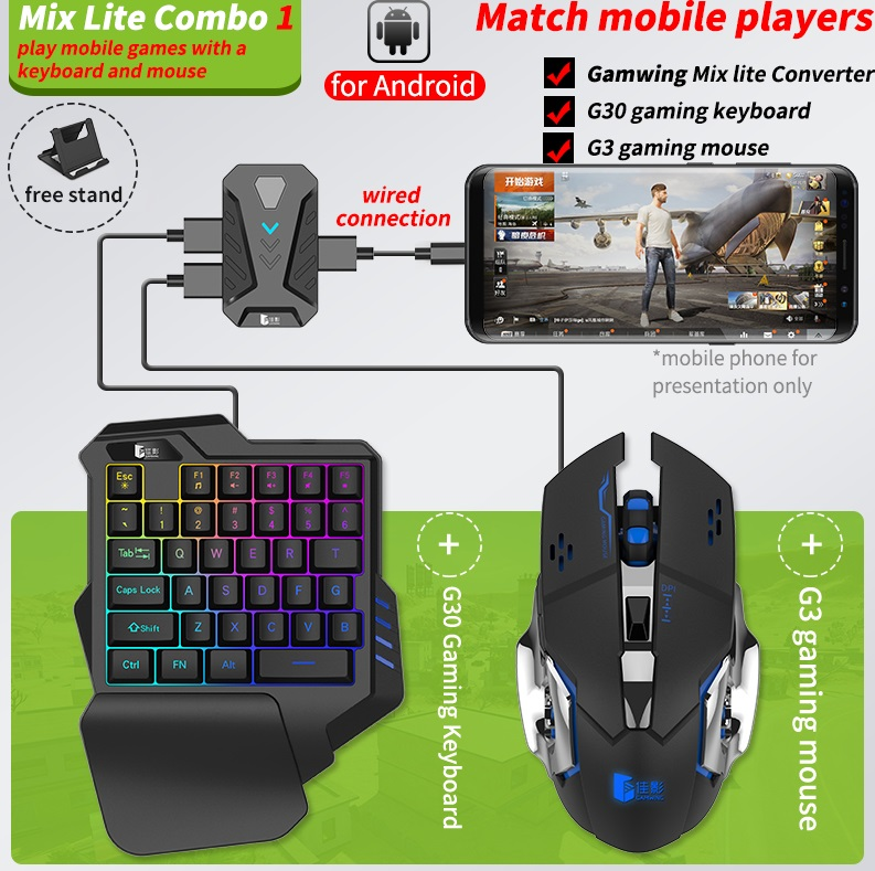 Game Converter Bluetooth 5.0  Mobile Controller Gaming Keyboard Mouse Converter for Android and iOS MIX lite+K1 keyboard+003 mouse
