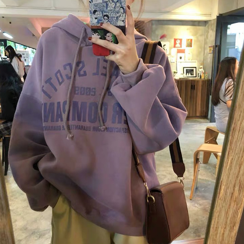 Lady Thicken Loose Hoodie Sweatshirt Printing Letter Autumn Winter Casual Pullover Tops purple_2XL