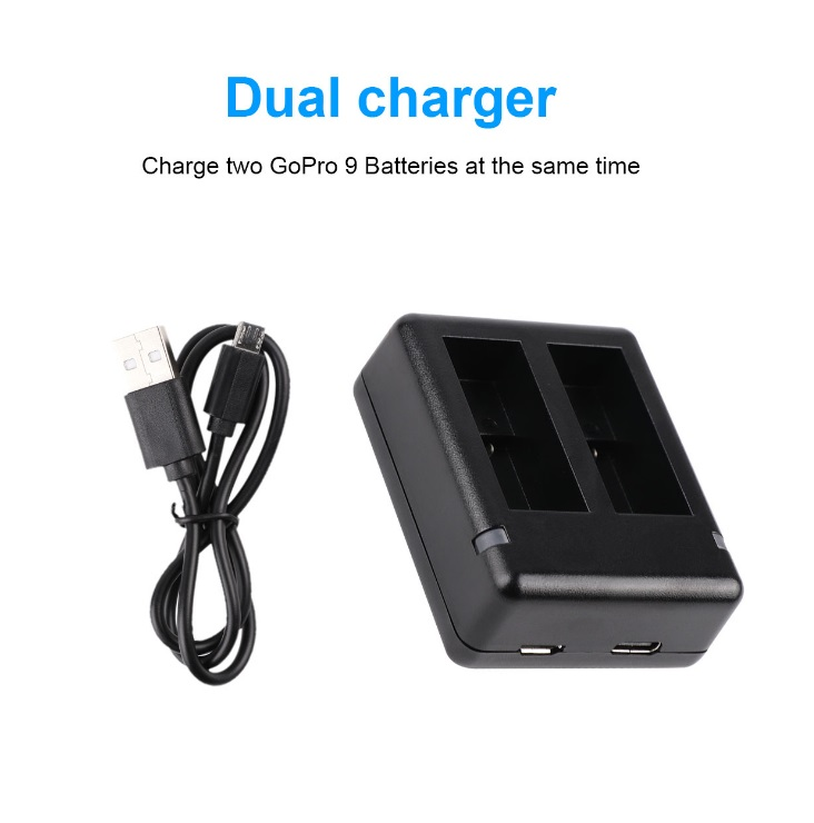 Dual Charger Portable Camera Accessories for GoPro 9 Sports Camera black