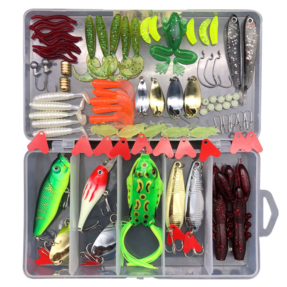 75pcs/94pcs/122pcs/142pcs Fishing Lures Set Spoon Hooks Minnow Pilers Hard Lure Kit In Box Fishing Gear Accessories 94 pieces (random color)