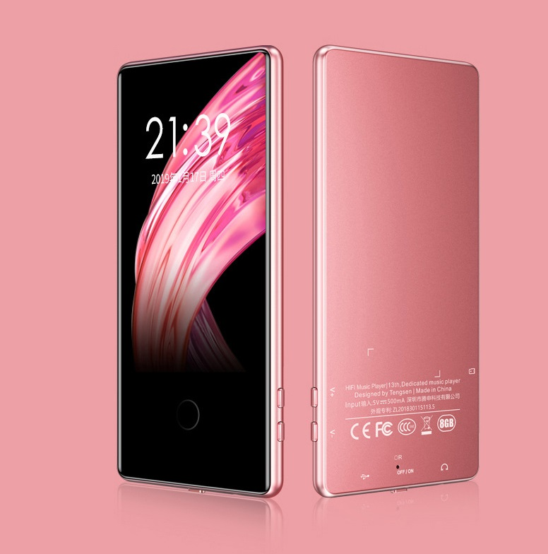 Touch ScreenMP3 Mp4 Player 8G 16G Sports 3.6 Inch Screen HD Lossless Music Player  Rose gold