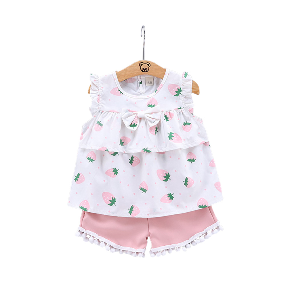 2pcs/set Girls' Vest Suit Cotton Strawberry Pattern Sleeveless Vest Shorts for 0-4 Years Old Baby  Pink_80cm