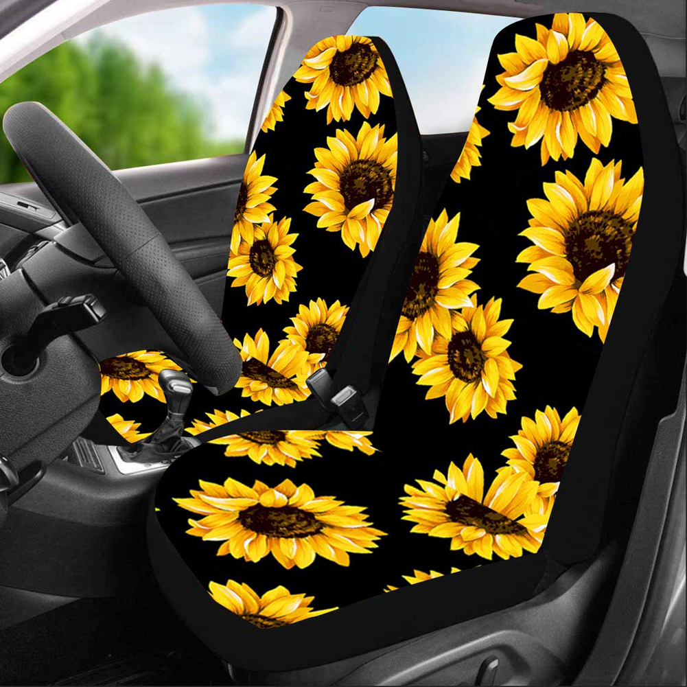 2pcs Car Seat Covers Lovely Sunflower Universal Auto Front Seats Protector