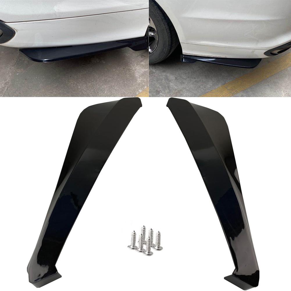 2pcs Car Rear Bumper Universal Rear Trunk Lip Spoiler Anti-crash Diffuser Lip Wrap Angle Splitter Protector  black
