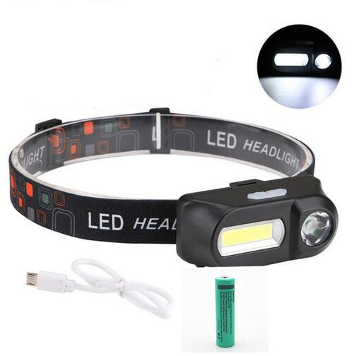 COB LED Portable USB Charging Headlamp for Outdoor Camping Fishing black_With 18650 battery