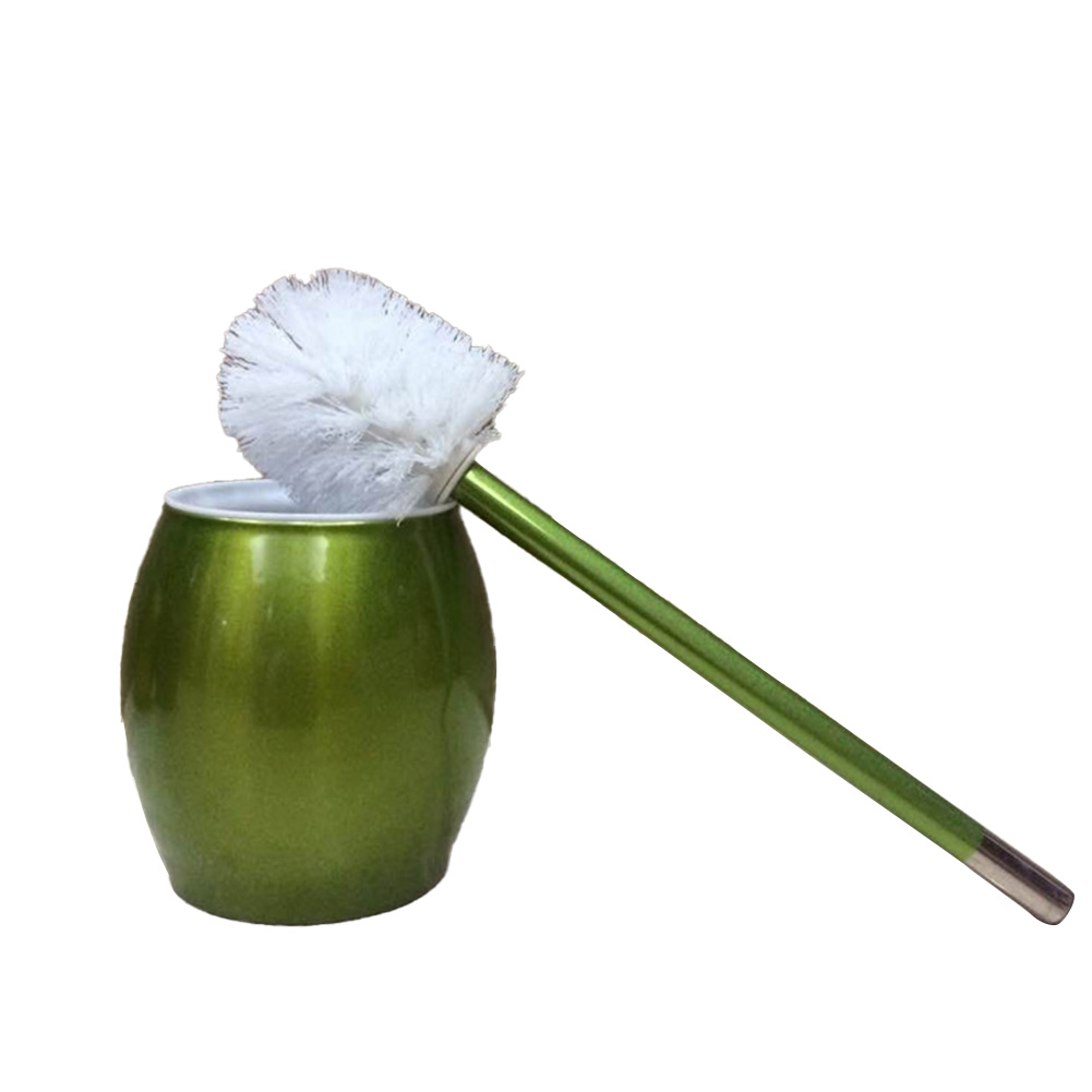 Toilet Brush with Stainless Steel Circular Base for Bathroom Toilet Cleaning green