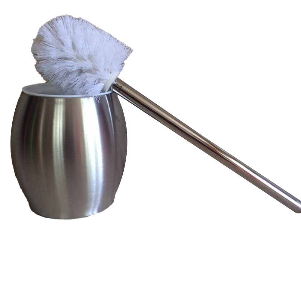 Toilet Brush with Stainless Steel Circular Base for Bathroom Toilet Cleaning Silver