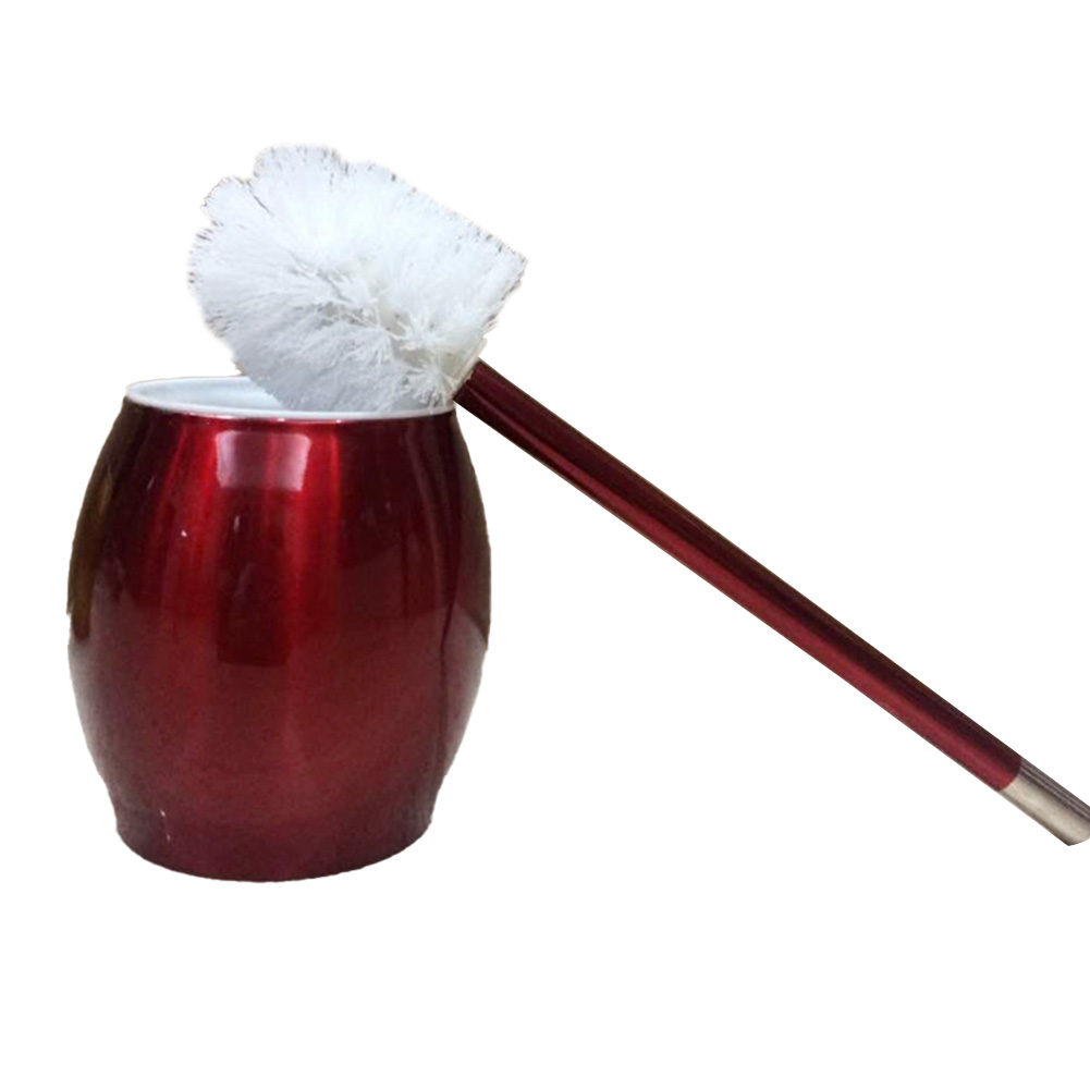 Toilet Brush with Stainless Steel Circular Base for Bathroom Toilet Cleaning red