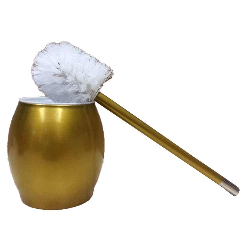 Toilet Brush with Stainless Steel Circular Base for Bathroom Toilet Cleaning yellow