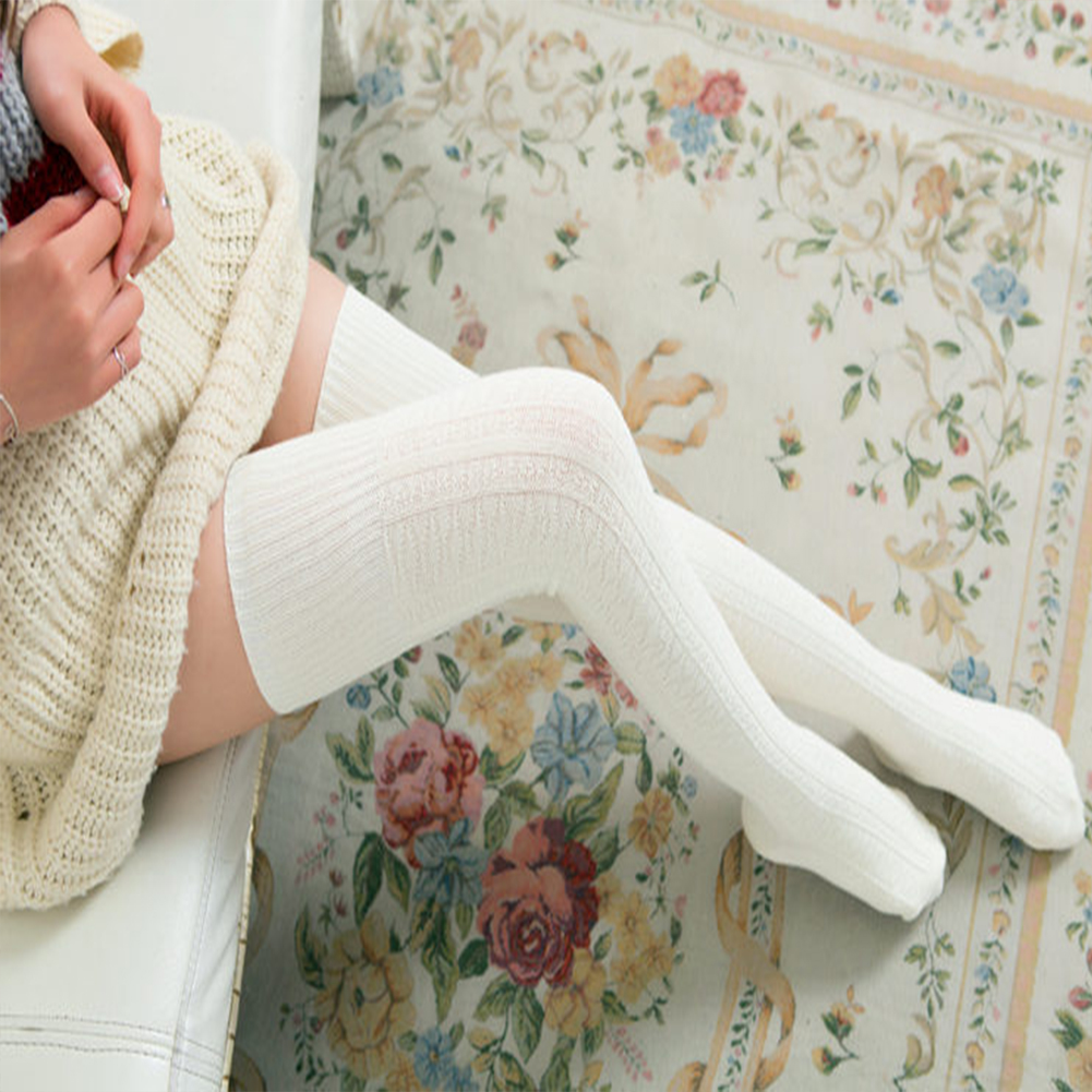 Female Enlarged Boot Socks Soft Cotton Over Knee Stocking Milk white_One size / length 74 cm