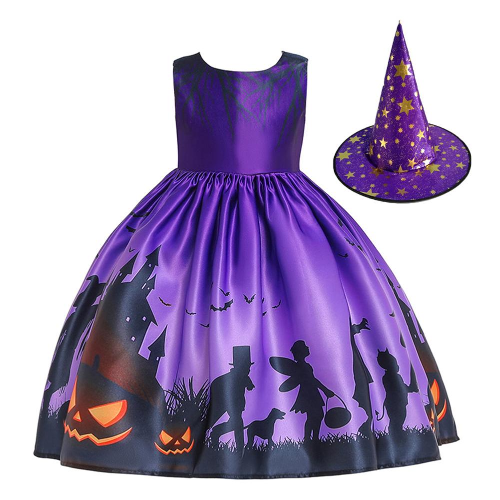 Halloween Girl Dress Pumpkin Castle Print Princess Dress Sleeveless Satin Print Child Dress WS001-purple [with hat]_120cm