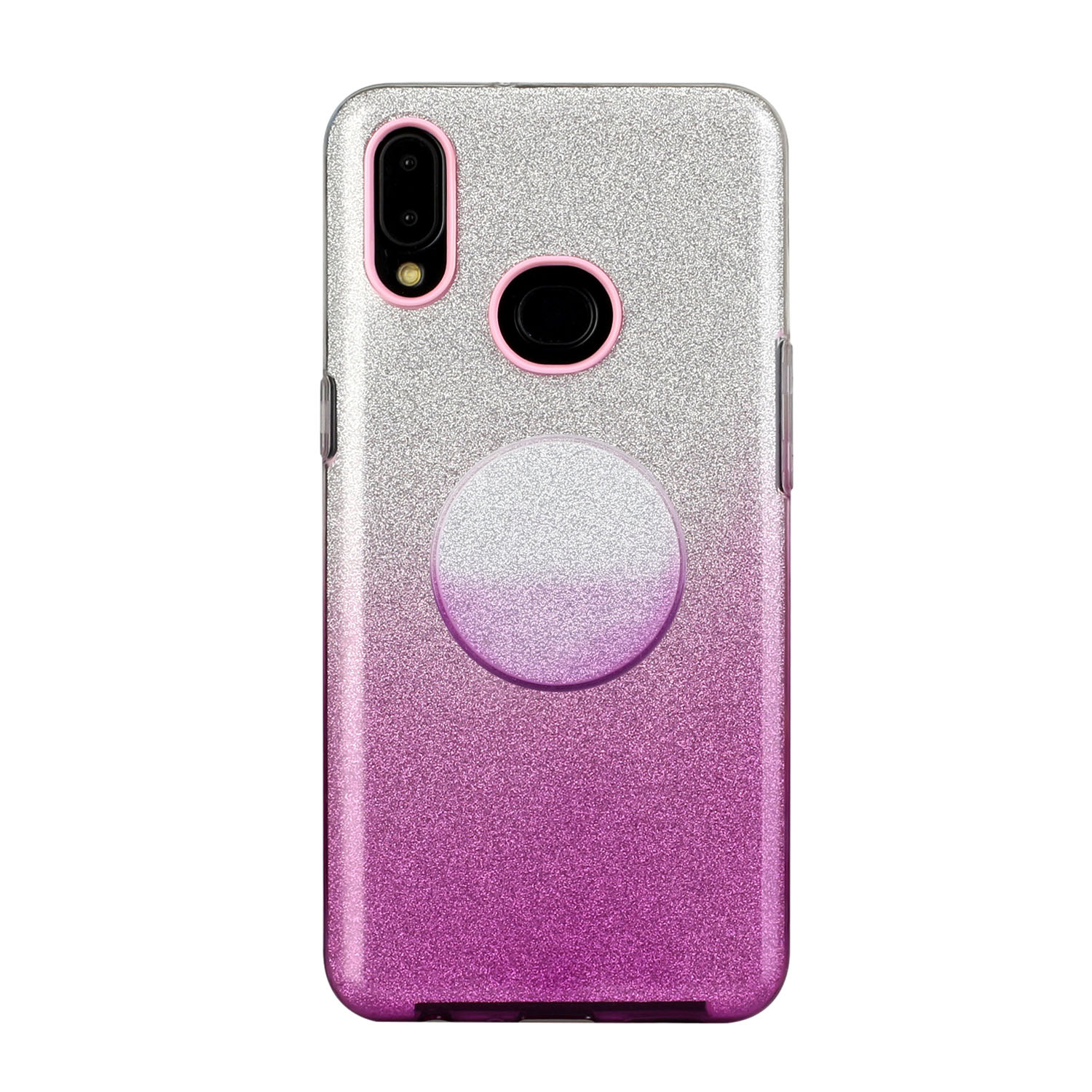 For Samsung A10/A50/A30S/A70/A20S Phone Case Gradient Color Glitter Powder Phone Cover with Airbag Bracket purple