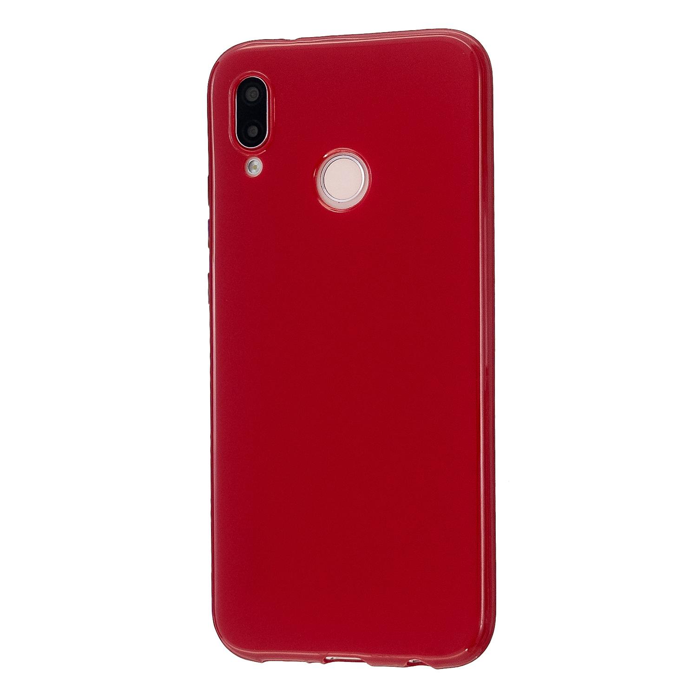 For HUAWEI P20/P20 Lite/P20 Pro Cellphone Case Simple Profile Soft TPU Phone Case Anti-Slip Smartphone Cover Rose red