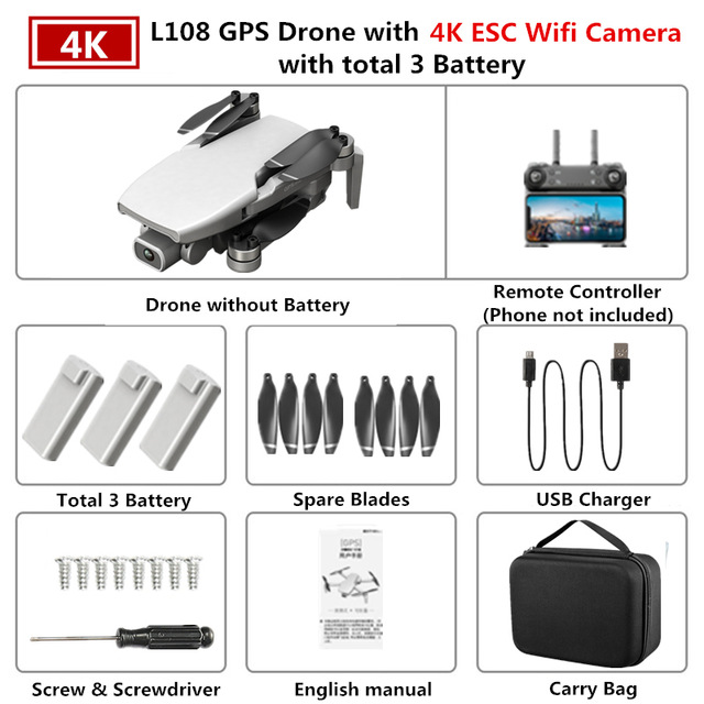 GPS Drone L108 with 4K ESC HD Dual Camera 5G Wifi FPV GPS Flow Follow RC Quadcopter Brushless Foldable Helicopter VS SG906 White 3 batteries
