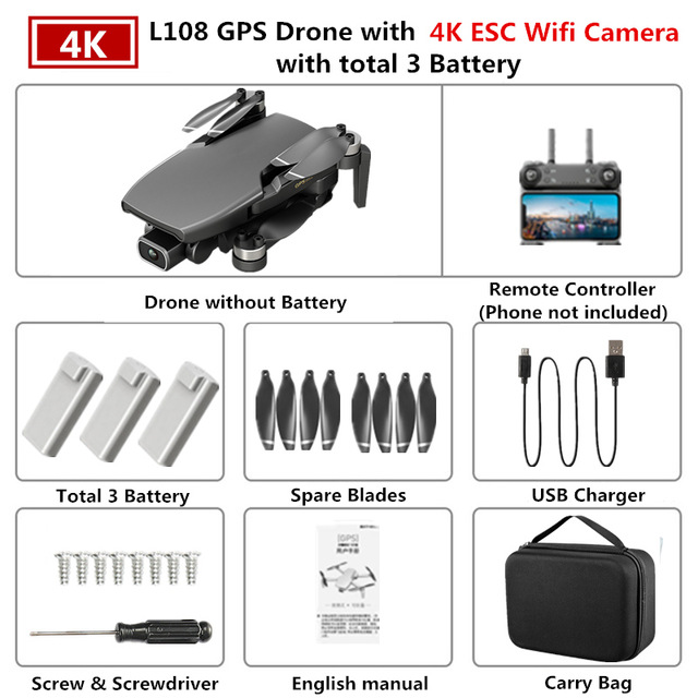GPS Drone L108 with 4K ESC HD Dual Camera 5G Wifi FPV GPS Flow Follow RC Quadcopter Brushless Foldable Helicopter VS SG906 Black 3 battery