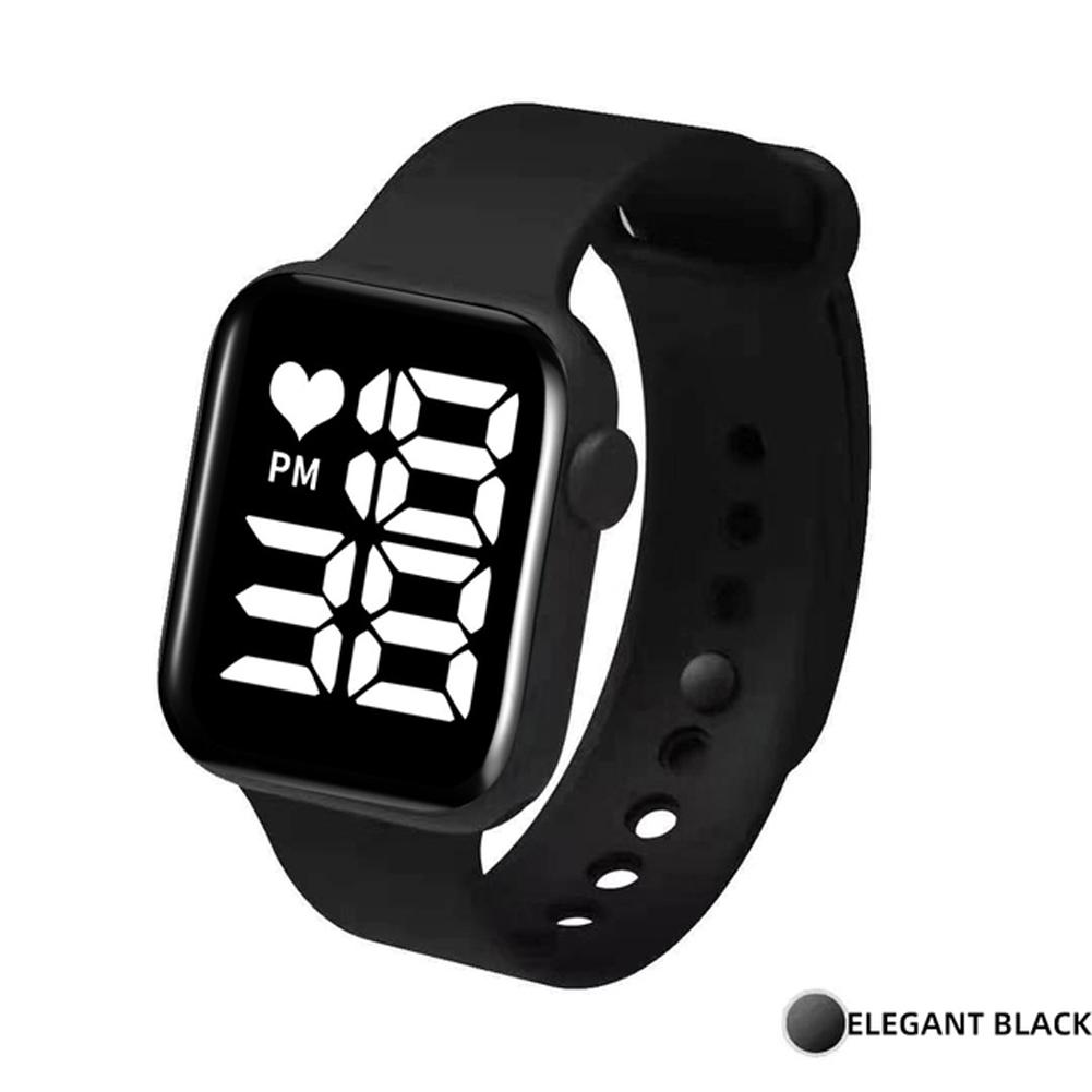 Digital  Smart  Sport  Watch Fashion Small Square Waterproof Touch Sports Led Electronic Wristwatch Black_White light