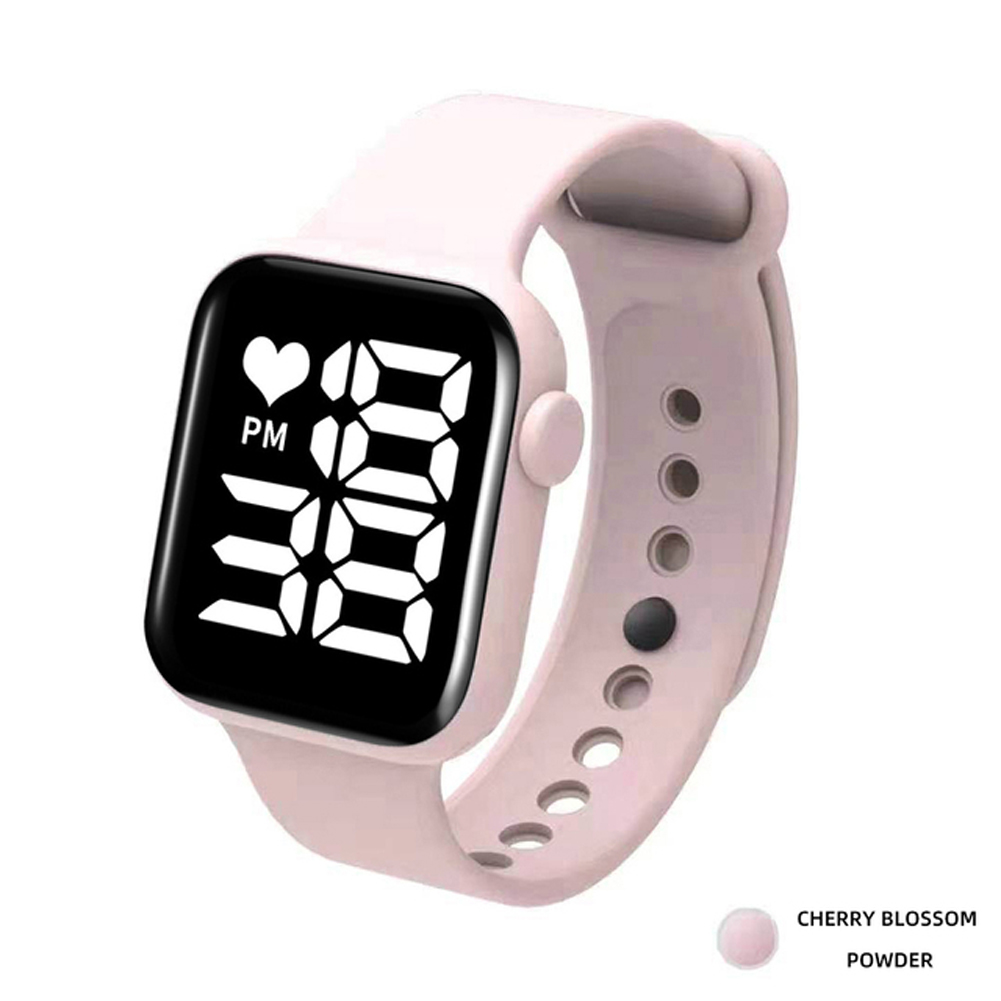 Digital  Smart  Sport  Watch Fashion Small Square Waterproof Touch Sports Led Electronic Wristwatch Pink_White light