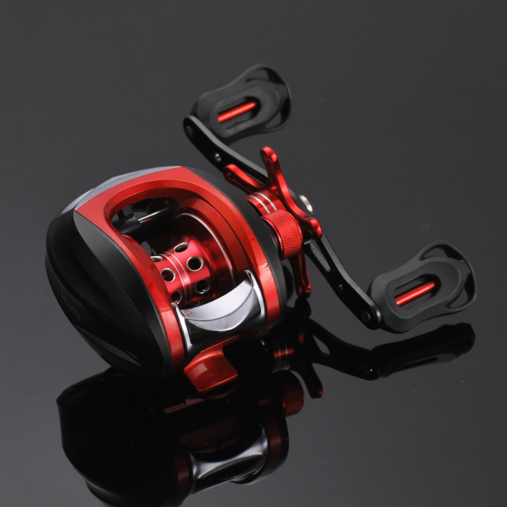 Low-Profile Reel Left and Right Fishing Wheel Bait Casting Hand Fishing Reel Black red (right hand wheel)