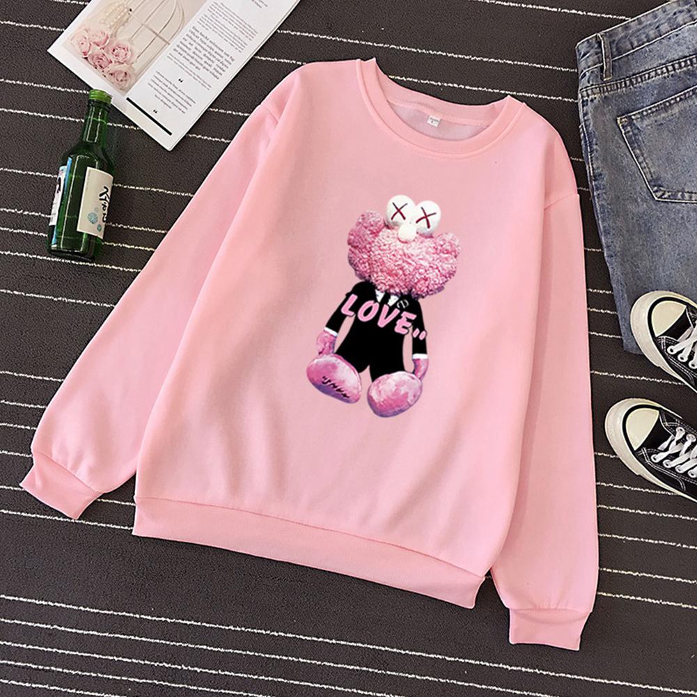 KAWS Men Women Hoodie Sweatshirt Cartoon Love Doll Thicken Autumn Winter Loose Pullover Pink_S