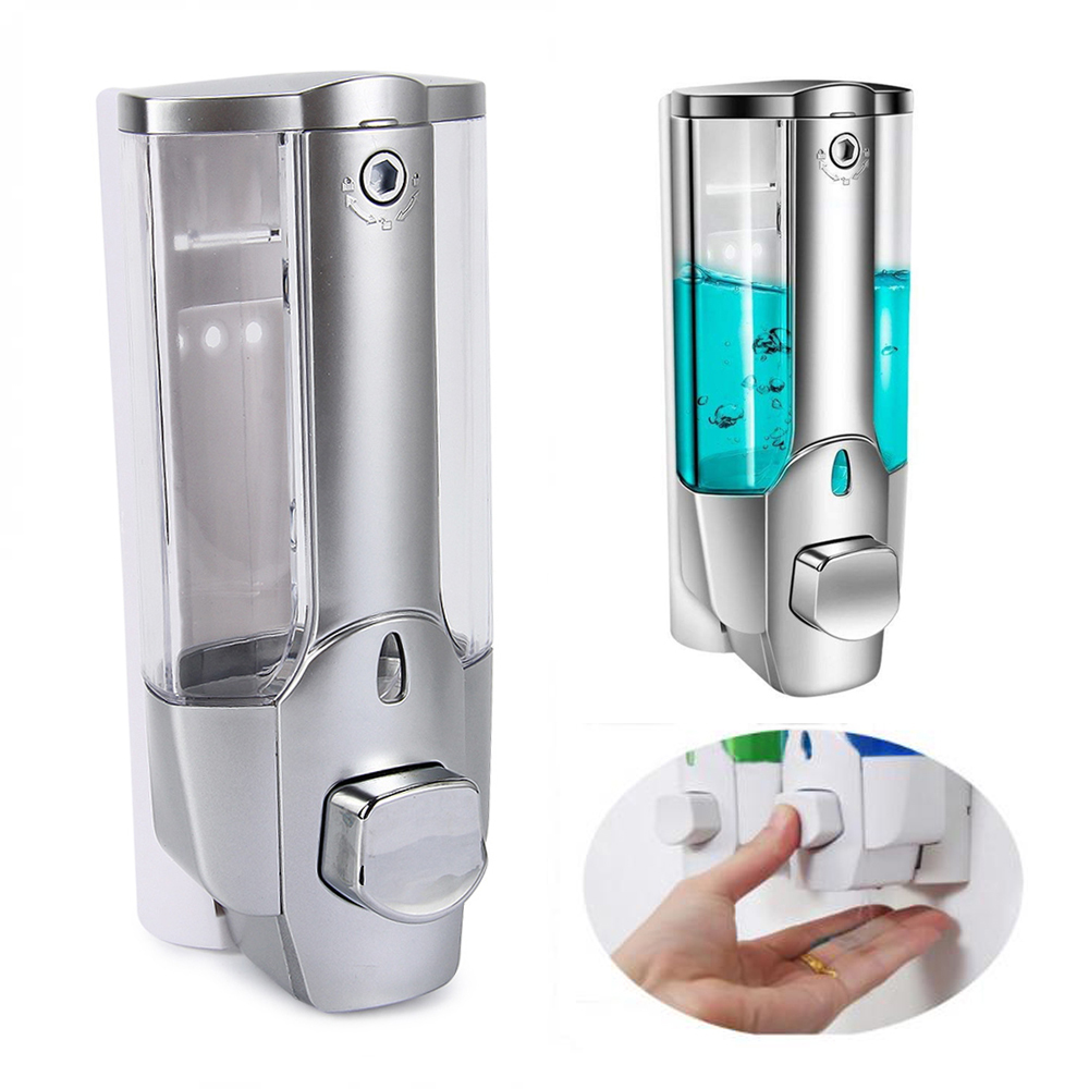 350ml Hand Soap Dispenser Wall Mount Shower Liquid Dispensers Containers with Lock for Bathroom Washroom Soap Dispenser Pump Silver