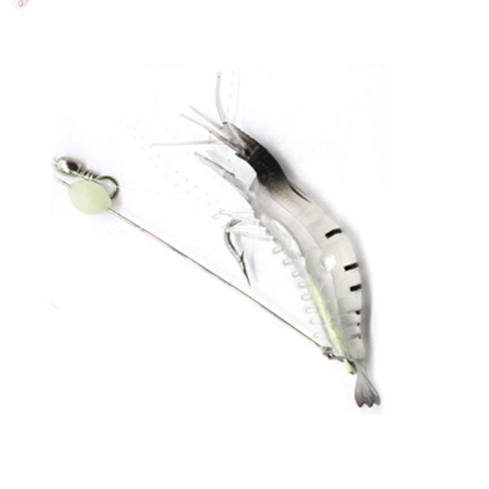 9cm Simulation Prawn Fishing lure Multicolor Luminous Tackle Bait Sea fishing Soft bait fishing tool 4#Black head and white body