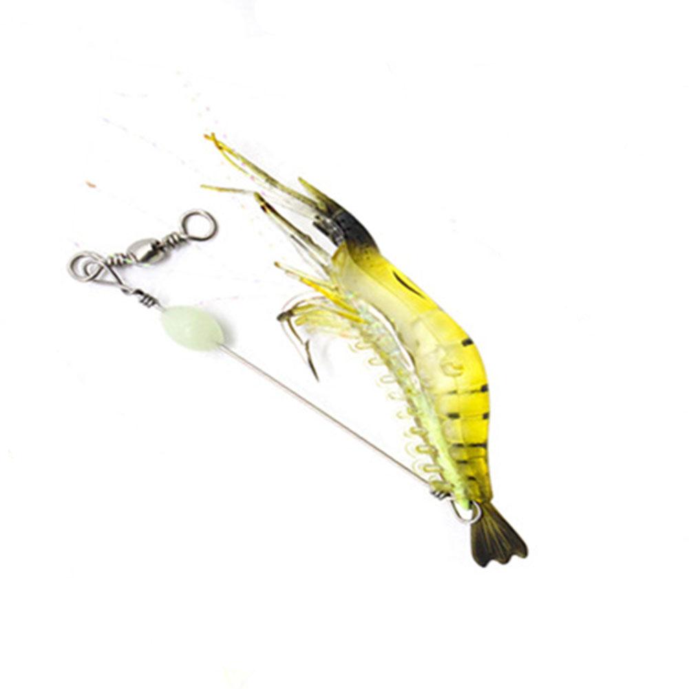 9cm Simulation Prawn Fishing lure Multicolor Luminous Tackle Bait Sea fishing Soft bait fishing tool 2#Black head yellow body