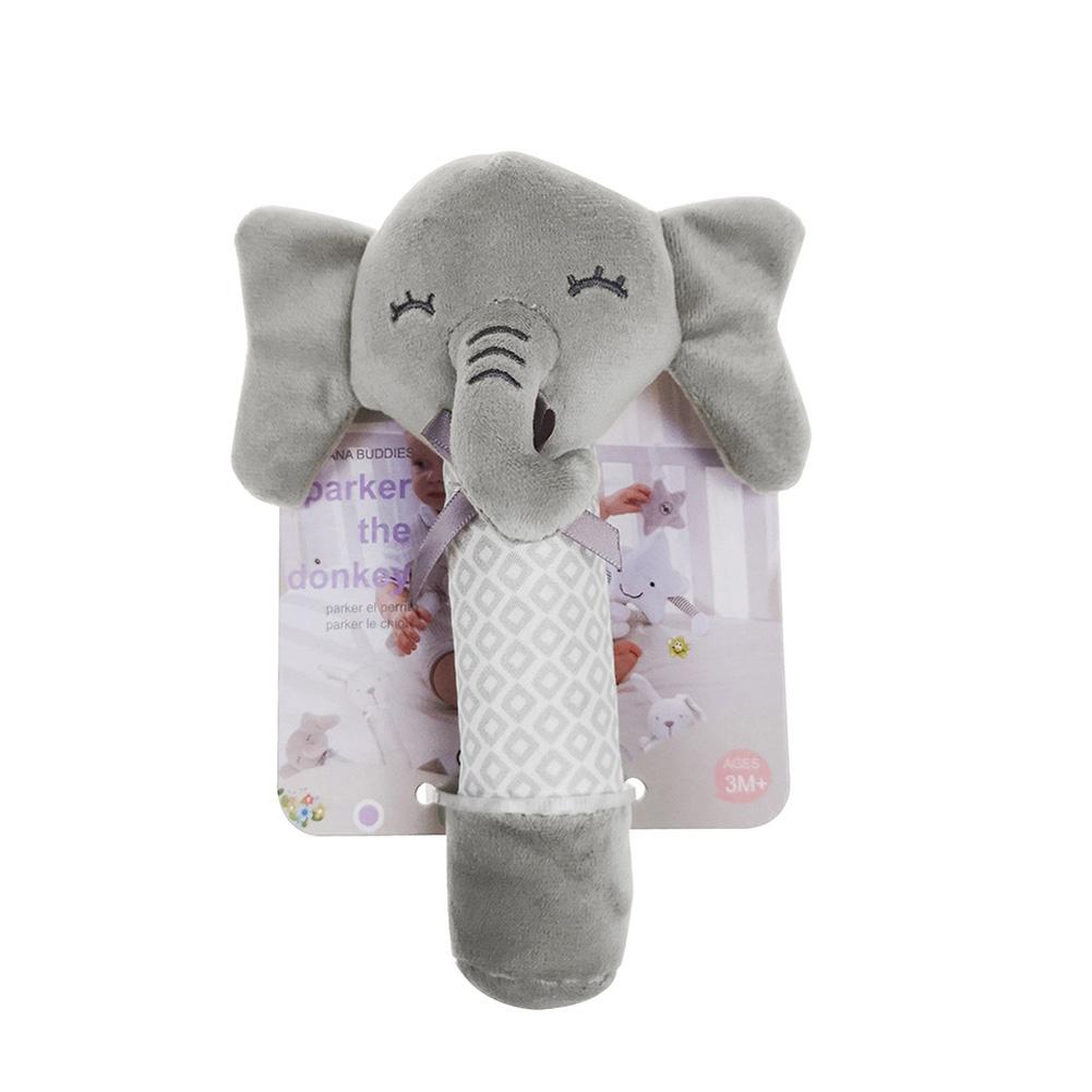 Newborn Baby Infant Cartoon Plush Animal Shaped Rattles Sound BB Toy Gift Elephant
