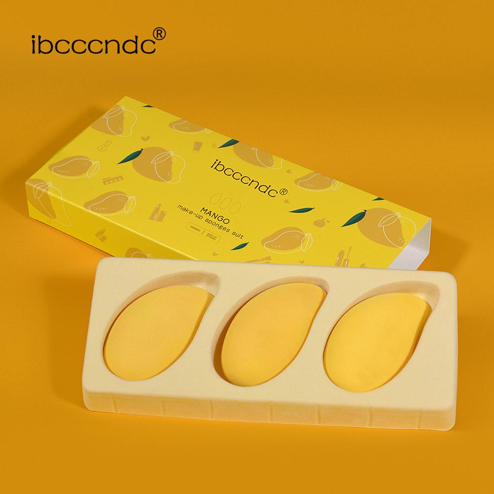3PCS Small Mango Makeup Puff Sponge Egg Mango Makeup Egg Set yellow