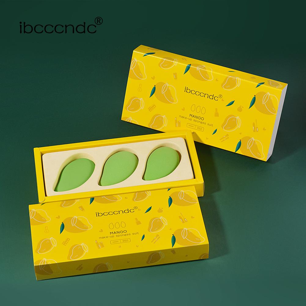 3PCS Small Mango Makeup Puff Sponge Egg Mango Makeup Egg Set green