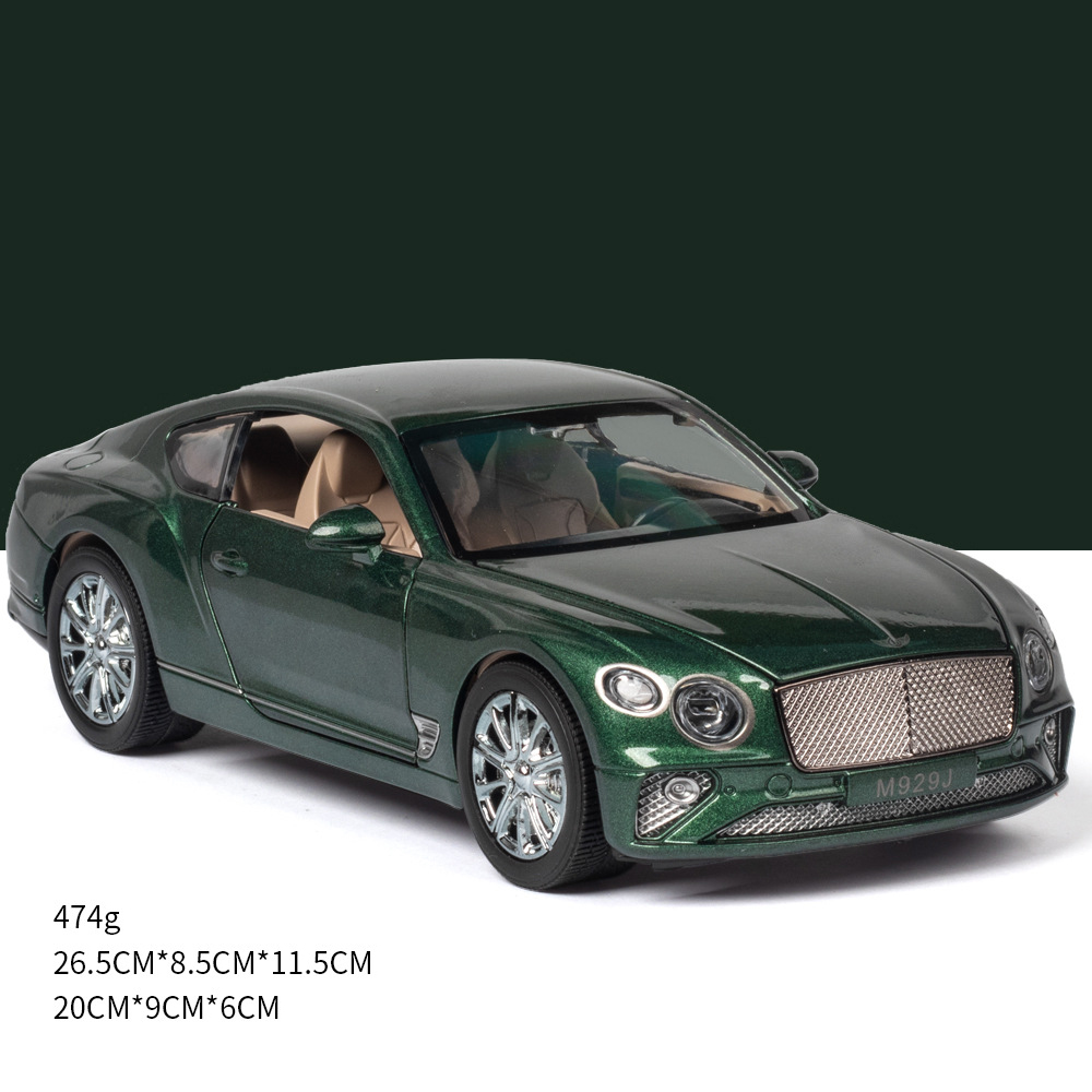 Simulate 1:24 Alloy Car Toy with Sound Light Door Opened Model for Bentley green