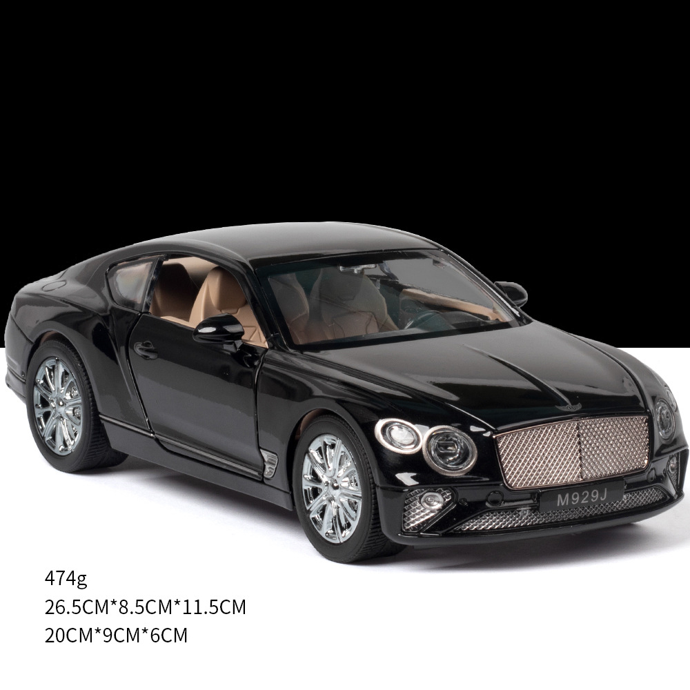 Simulate 1:24 Alloy Car Toy with Sound Light Door Opened Model for Bentley black
