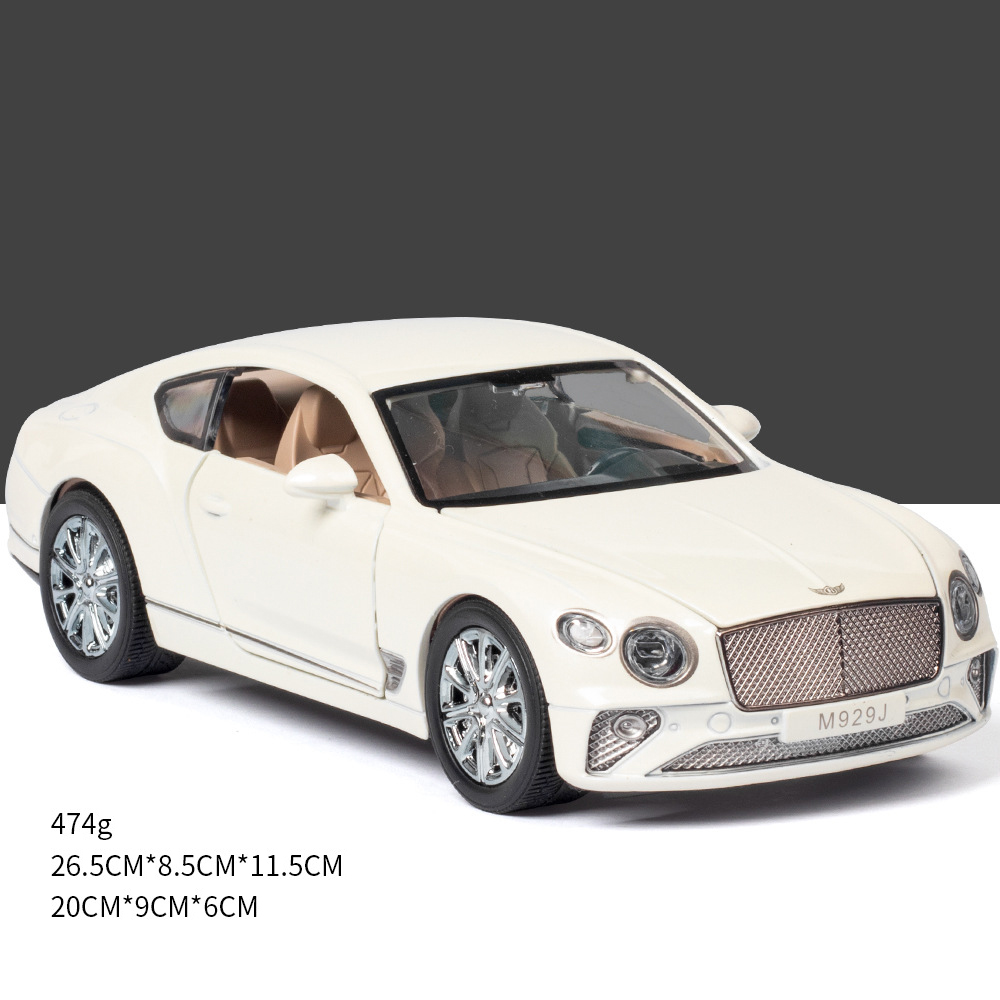 Simulate 1:24 Alloy Car Toy with Sound Light Door Opened Model for Bentley white
