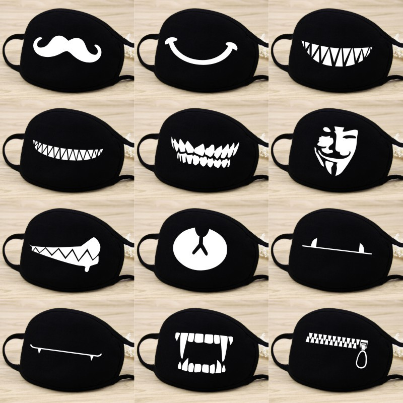 Men Women Riding Cotton Mask Dust-proof Fashion Black Facial Expression Teeth Warm Mask KZ-black