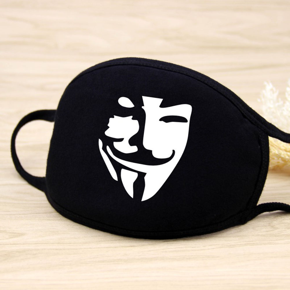Men Women Riding Cotton Mask Dust-proof Fashion Black Facial Expression Teeth Warm Mask KZ-3026
