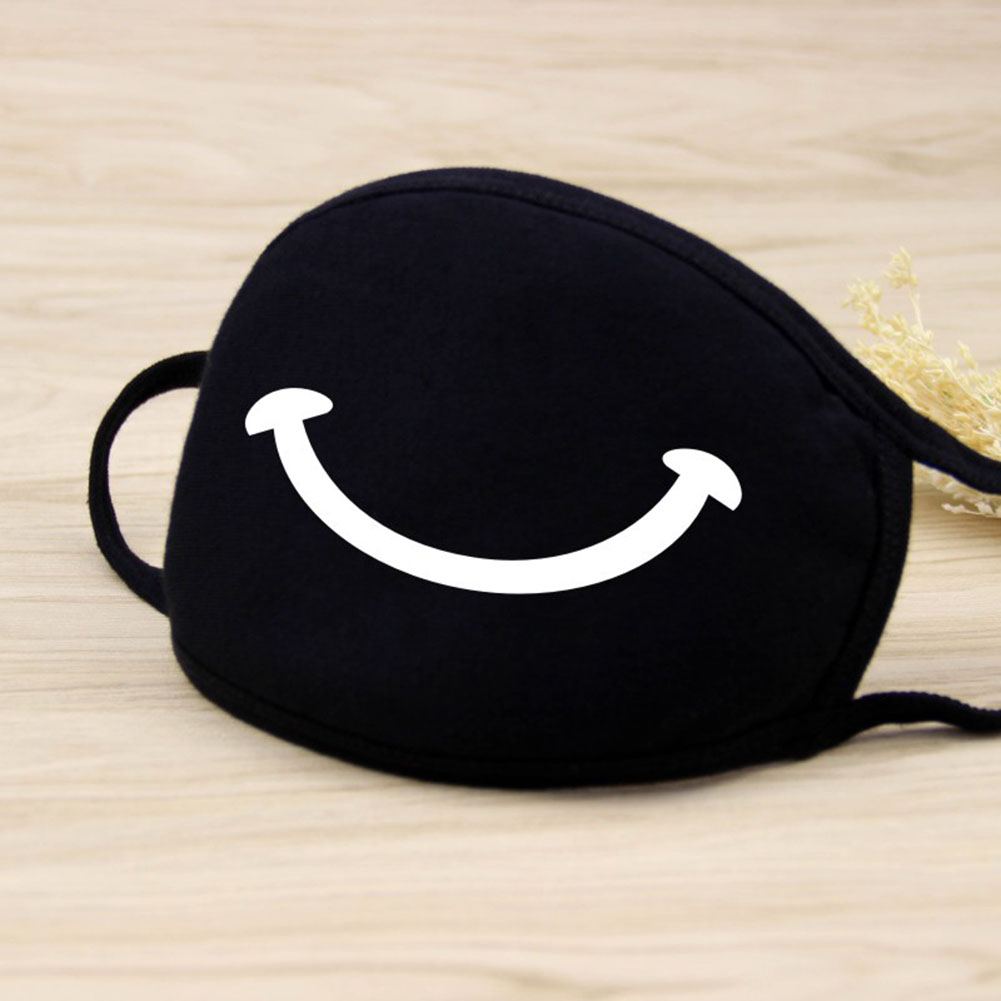 Men Women Riding Cotton Mask Dust-proof Fashion Black Facial Expression Teeth Warm Mask KZ-3011