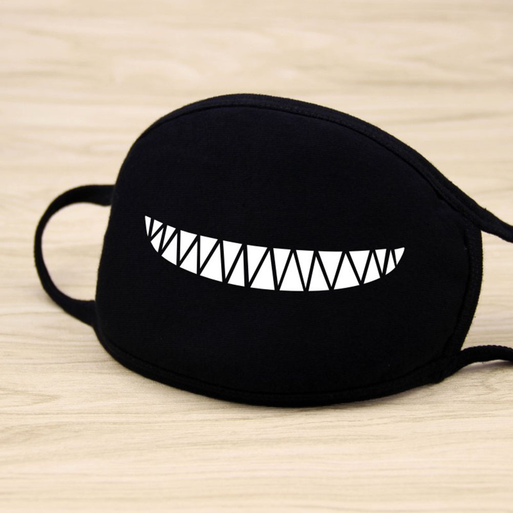 Men Women Riding Cotton Mask Dust-proof Fashion Black Facial Expression Teeth Warm Mask KZ-thin mouth