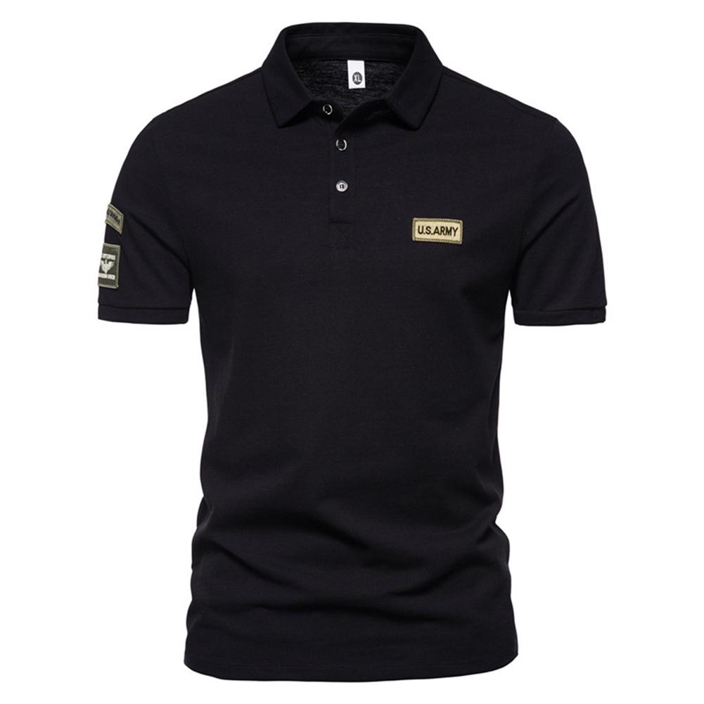 Men  T-shirt Summer Fashion Outdoor Style Label Printing Short-sleeved Lapel Shirt Black_XL