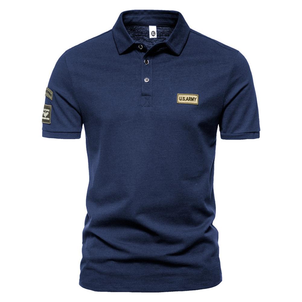 Men  T-shirt Summer Fashion Outdoor Style Label Printing Short-sleeved Lapel Shirt Navy blue_XL